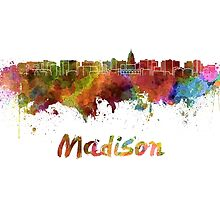 Madison skyline in watercolor by paulrommer