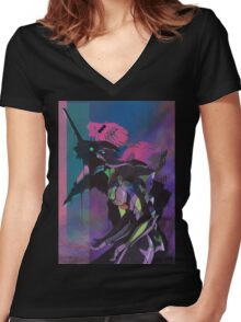 Neon Genesis Evangelion Women's Fitted V-Neck T-Shirt