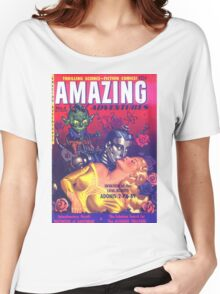 Amazing Adventures - Love Robot Invasion - Classic Comic Art Women's Relaxed Fit T-Shirt