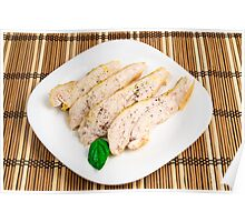 Baked chicken breast sliced on a white plate Poster