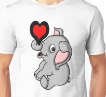 Cute Baby Elephant with Heart Unisex T-Shirt