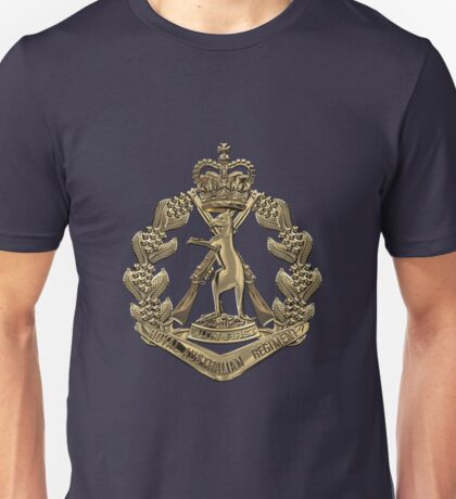 Royal Australian Regiment   -  RAR  Badge over Blue Velvet Unisex T-Shirt
