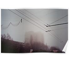 Building in a fog Poster