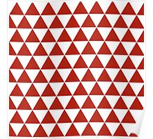 red,white,triangle pattern,modern,trendy,pattern Poster