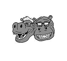 kopf gesicht nerd team freunde duo geek hornbrille schlau klug pickel freak zahspange lustig nilpferd dick groß comic cartoon  Photographic Print