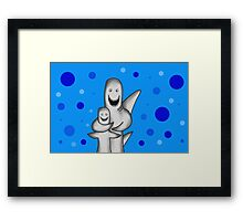 Happy Sharks drawing Framed Print
