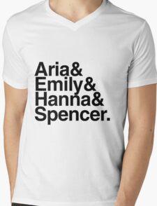 Aria & Emily & Hanna & Spencer. - black text Mens V-Neck T-Shirt