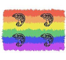 Oscar the Chameleon: Pride Flag Photographic Print