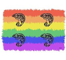 Oscar the Chameleon: Pride Flag Photographic Print