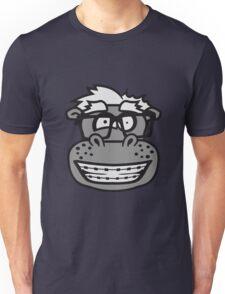 kopf gesicht nerd geek schlau hornbrille freak dumm zahnspange kleines lustiges süßes niedliches dickes comic cartoon nilpferd fett hippo  Unisex T-Shirt