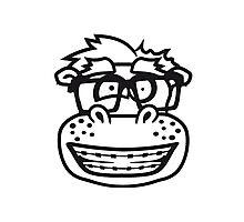 kopf gesicht nerd geek schlau hornbrille freak dumm zahnspange kleines lustiges süßes niedliches dickes comic cartoon nilpferd fett hippo  Photographic Print