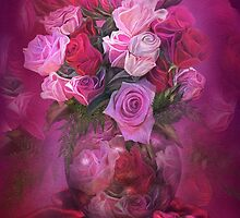 Roses In Rose Vase by Carol  Cavalaris