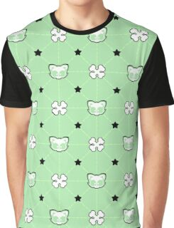 Mint the Cat Pattern Graphic T-Shirt