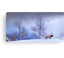 bull elk heading down valley Canvas Print