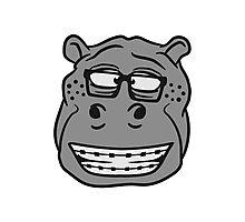 kopf gesicht nerd geek hornbrille schlau klug pickel freak zahspange lustig nilpferd dick groß comic cartoon  Photographic Print