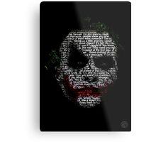 Dark Knight Joker - Typography Poster  Metal Print