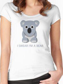 I swear Im a Bear cute funny Koala cartoon T-Shirt Women's Fitted Scoop T-Shirt