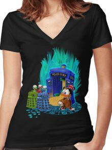 The Ducktor Tales Women's Fitted V-Neck T-Shirt