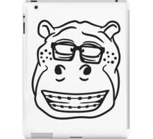 kopf gesicht nerd geek hornbrille schlau klug pickel freak zahspange lustig nilpferd dick groß comic cartoon  iPad Case/Skin