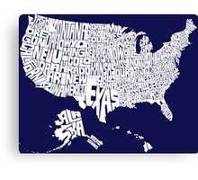 USA States White Canvas Print