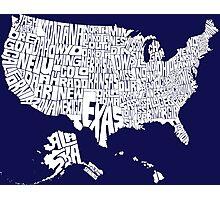 USA States White Photographic Print