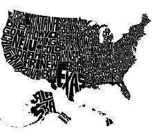 USA States Black Photographic Print