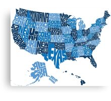 USA States Blue Canvas Print