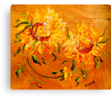 Fiery Sunflowers on Wood Canvas Print