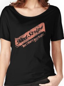 Don't Worry Red Stripe Beer Happy Women's Relaxed Fit T-Shirt
