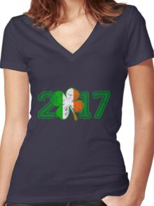 2017 St Patrick s Day Women's Fitted V-Neck T-Shirt