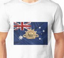 Australian Army Badge over Australian Flag Unisex T-Shirt