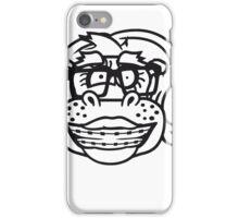 kopf gesicht frau weibchen girl mädchen nerd geek schlau hornbrille freak dumm zahnspange lustiges süßes  dickes comic cartoon nilpferd fett hippo  iPhone Case/Skin