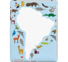 South America White Map with Animals iPad Case/Skin