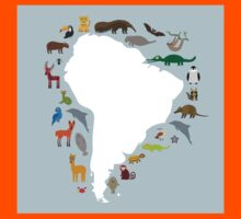 South America White Map with Animals Kids Tee