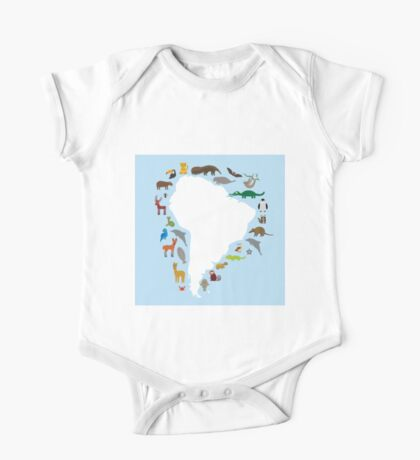 South America White Map with Animals One Piece - Short Sleeve