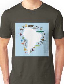 South America White Map with Animals Unisex T-Shirt
