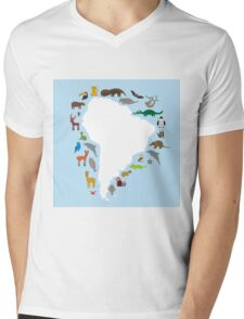 South America White Map with Animals Mens V-Neck T-Shirt