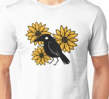 Crow and Sun Flowers Unisex T-Shirt