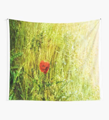 Red Poppy in Green Grassy Summer Meadow Wall Tapestry