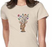 Deer With A Floral Imagination Womens Fitted T-Shirt