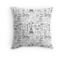 Seamless pattern Paris symbols Throw Pillow
