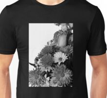 Half of Floral Arrangement in B & W Unisex T-Shirt