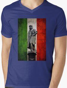 Christopher Columbus Statue with Italian Flag Mens V-Neck T-Shirt
