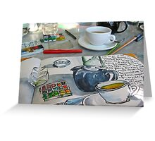 the sketching tea party Greeting Card