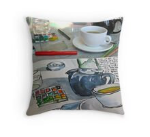 the sketching tea party Throw Pillow