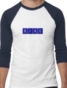 Bike Scrabble (Blue) Men's Baseball ¾ T-Shirt