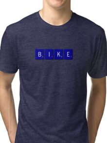 Bike Scrabble (Blue) Tri-blend T-Shirt