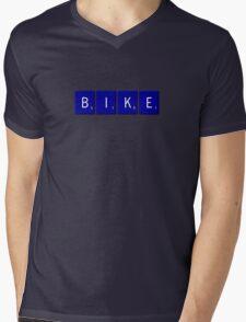Bike Scrabble (Blue) Mens V-Neck T-Shirt
