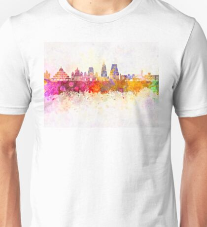Bangalore skyline in watercolor background Unisex T-Shirt
