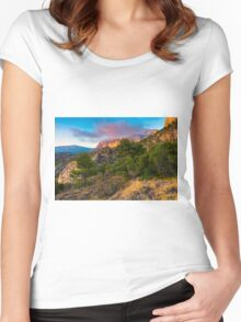 The peak and the cloud at sunset Women's Fitted Scoop T-Shirt